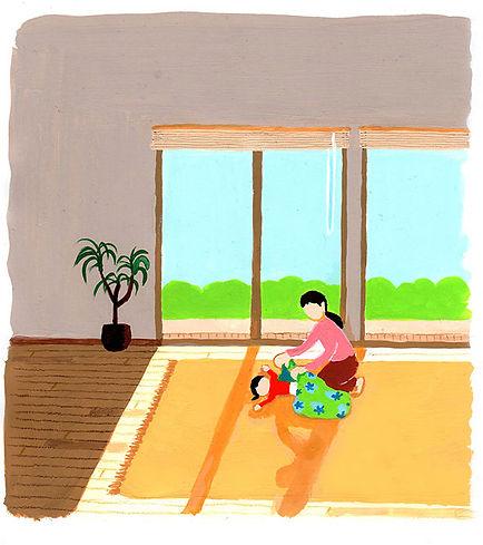 太陽からの輻射熱(放射熱)に包まれる空間は、ノドを痛めたり過乾燥になる心配が少ないのでお昼寝だって安心