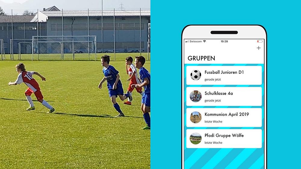 Das SHUBiDU-App organisiert verschiedene Termine wie ein Fussballtraining.