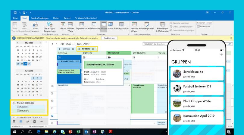 Synchronisiere den Geschäftskalender mit dem SHUBiDU-App.