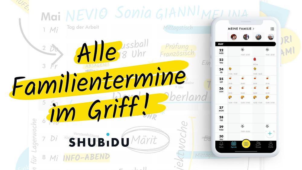 Alle Familientermine im Griff! Mit der SHUBiDU-app.