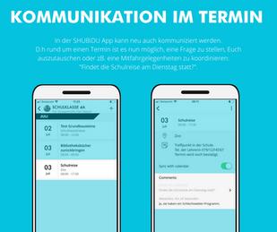 SHUBiDU App: Wenn in der Gruppen-Agenda auch gechattet werden kann