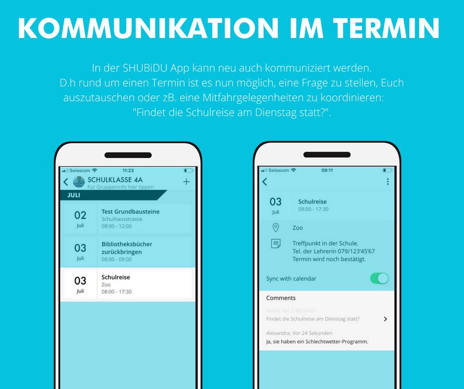 Screenshots der SHUBiDU-App, mit der App kann man direkt kommunizieren