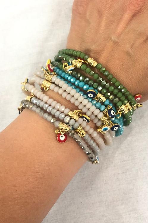 Gemstone stretch evil eye bracelet
