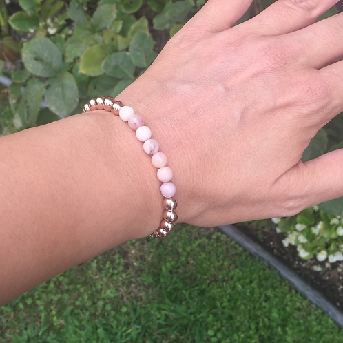 6MM Rose Gold filled bracelet with Pink Opal