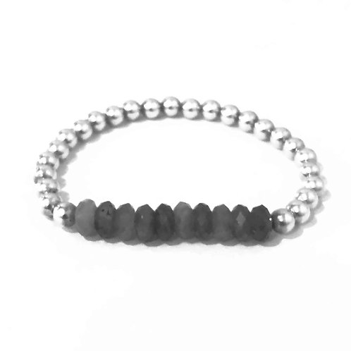 5mm silver bead with labradorite