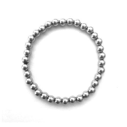4mm Sterling Silver bead bracelet