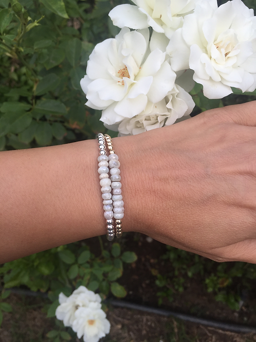 4mm Yellow, Rose or Silver bead bracelet with Silverite Stones