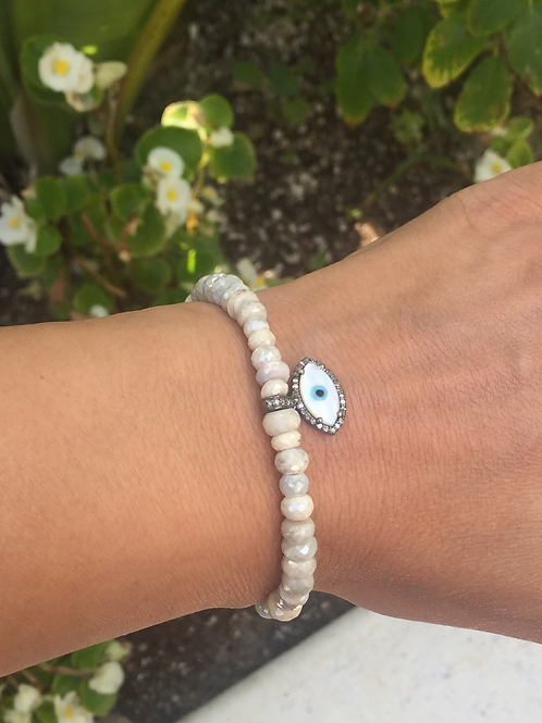 6mm Silverite rondelle beads with diamond evil eye