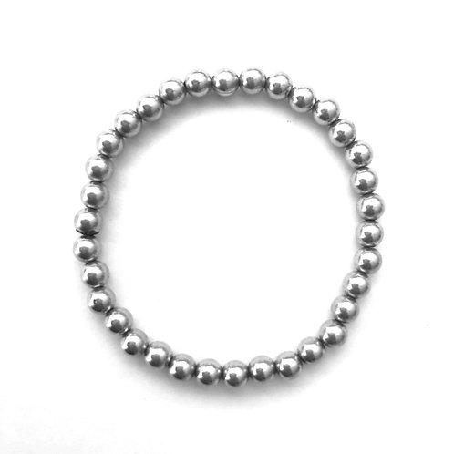 6mm Sterling Silver bead bracelet