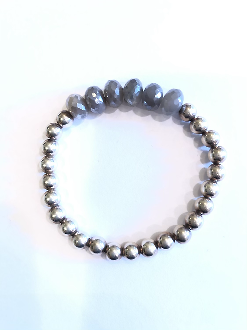 6mm silver bead bracelet with moonstone