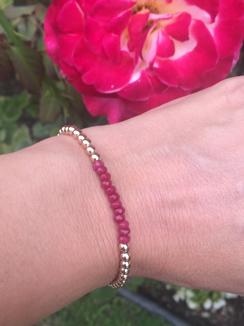 4mm Rose Gold filled bracelet with Red Jade