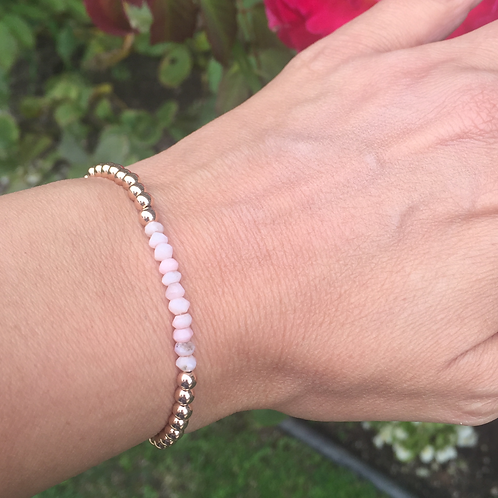 4mm Rose Gold filled beads with Pink Opal Rondelle