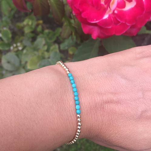 3mm Yellow Gold filled bracelet with Turquoise
