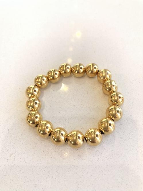 10mm yellow gold filled bead bracelet