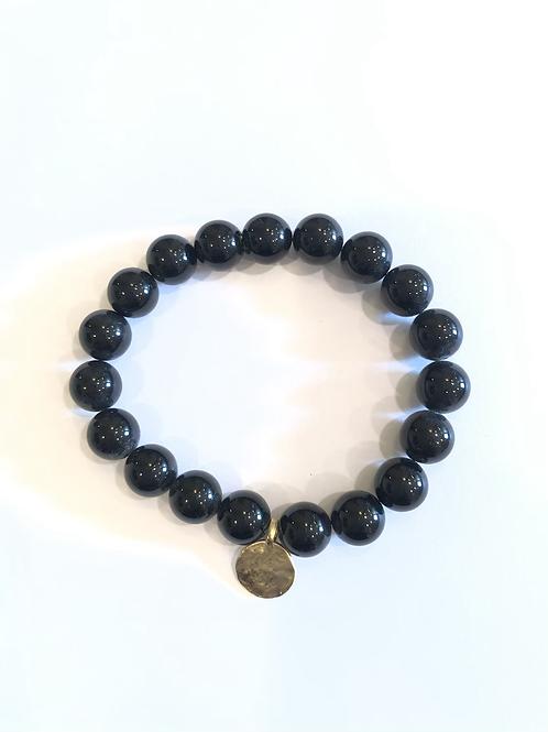 Unisex 8mm onyx bead bracelet