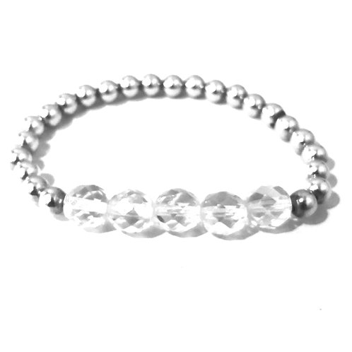 5mm silver with iridescent bead bracelet
