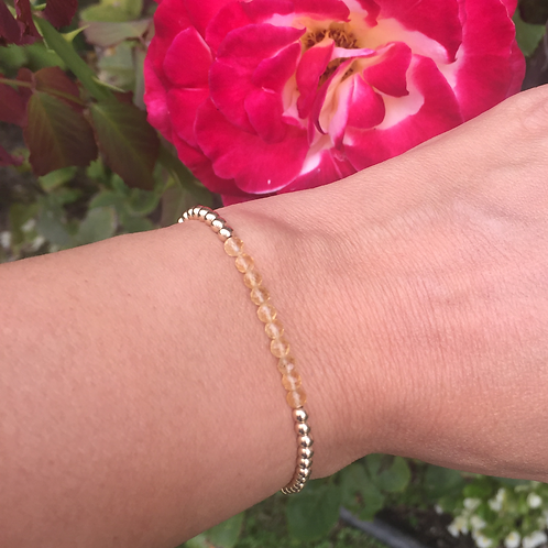 3mm Yellow Gold filled  bracelet with Yellow Citrine