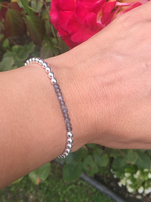 4MM Sterling Silver bead bracelet with Moonstone