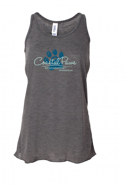Womens Flowy Tank Coastal Paws - Grey