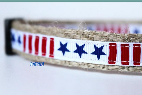 Green Bean Hemp Dog Collar Patriot Jr.  (5/8 inch wide)