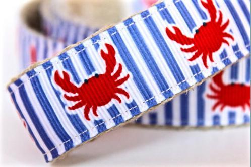 Green Bean Hemp Dog Collar Dancing Crabs (1 inch width)