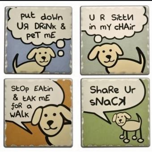 Dog Speak Coaster Set (2) designs