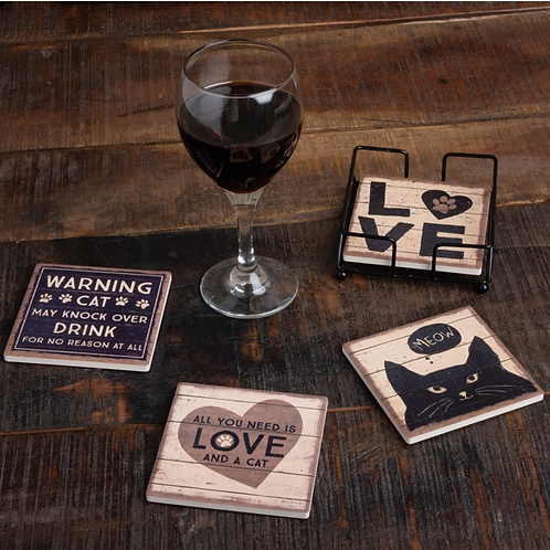 """Coaster Set """"All you need is love and a cat"""""""
