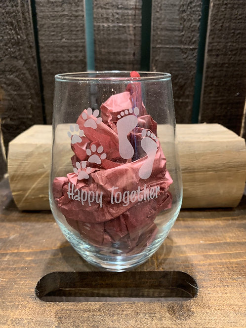 Stemless Wine Glass - Dog Designs
