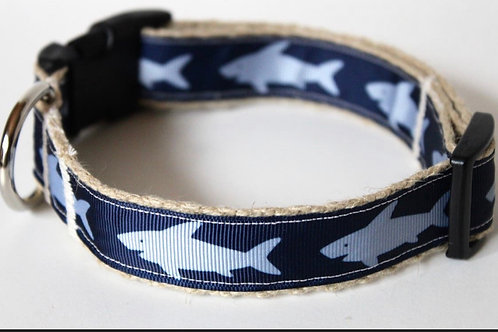 Green Bean Hemp Dog Collar Sharkie  (1 inch width)