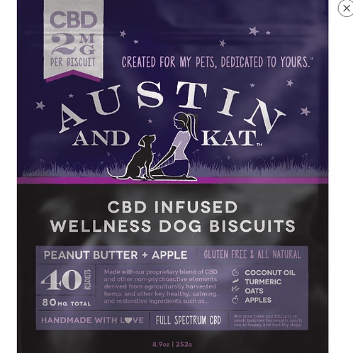 Austin & Kat Hemp Oil Treats Peanut Butter/Apple  - 2MG Small Dog