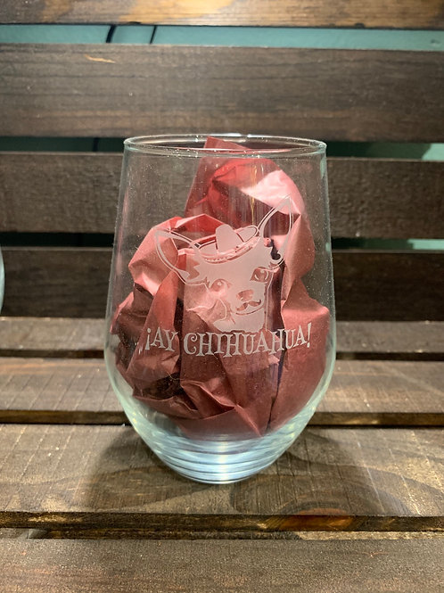 Stemless Wine Glass Chihuahua