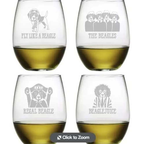 Stemless Wine Glass Beagle (4 designs)