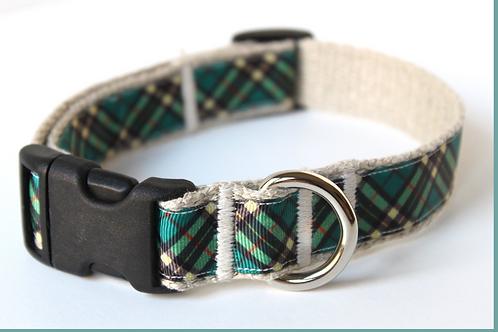 Green Bean Hemp Dog Collar Plaid Patterns (1 inch width)