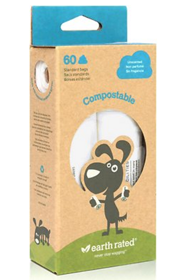 Earth Rated PoopBags Unscented Vegetable-Based Compostable Bags Refill Pack, 60