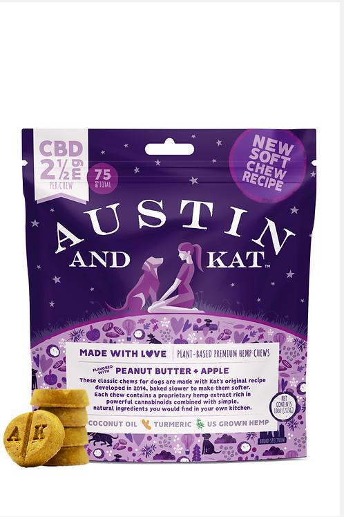 Austin & Kat Hemp Oil Treats Peanut Butter/Apple  - 2.5MG Med/Large Do