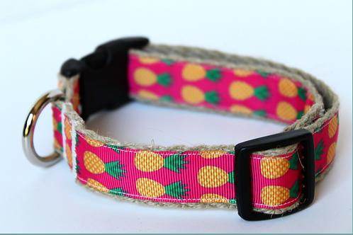Green Bean Hemp Dog Collar Pineapples (1 inch width)