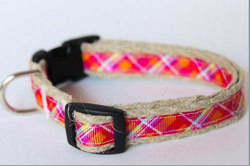 Green Bean Hemp Dog Collar Pretty in Pink Jr  (5/8 inch wide)