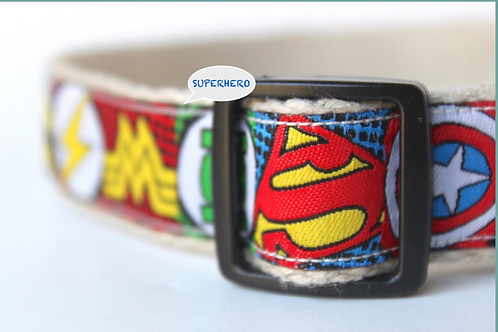 Green Bean Hemp Dog Collar Superhero (1 inch width)