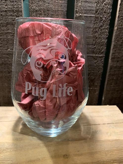 Stemless Wine Glass - Pug (5 designs)