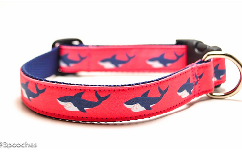 3Pooches Shark Attack Collar in Pink (multiple sizs)
