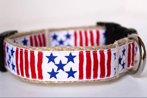 Green Bean Hemp Dog Collar Patriot (1 inch width)