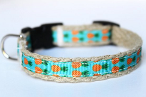 Green Bean Hemp Dog Collar Pineapples  (5/8 inch wide)