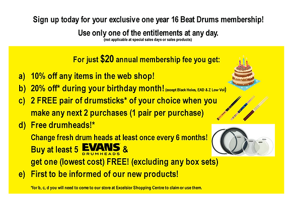 16 Beat Drums Membership