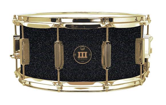 "WFLIII Aluminum Snare - Black Sparkle 6.5""x14"" Brass Lugs, Trick Strainer"