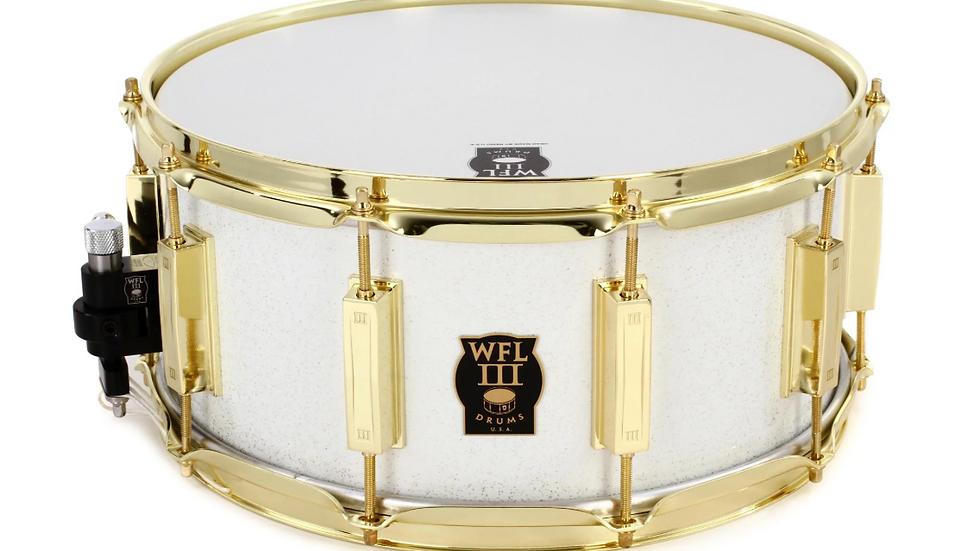 """WFLIII Aluminum Snare Drum - 6.5"""" x 14"""" White Sparkle"""