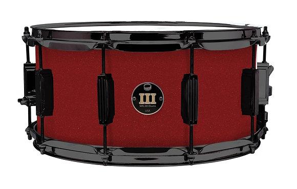 "WFL III Aluminium Snare - Rockin' Red 6.5""x14"" Black Nickle Lugs, Trick Strainer"