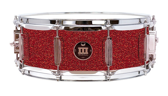 """WFLIII Maple Snare Drum - Deep Red Glitter 5""""x14"""" Chrome Lugs, S1 Strainer"""