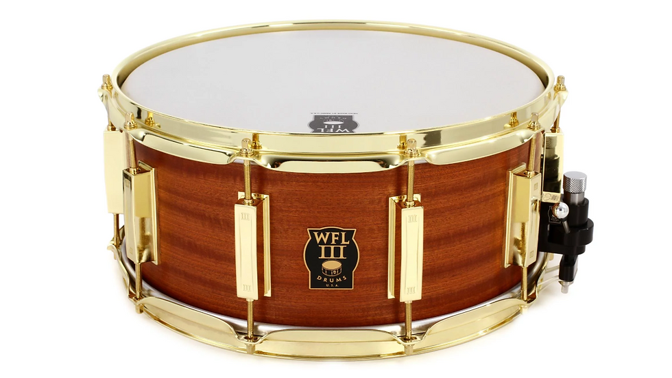 """WFLIII Mahogany Snare Drum - 6.5"""" x 14"""" Satin with Gold Hardware"""