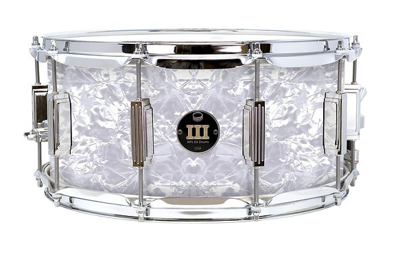 """WFL III Maple Snare - White Pearl with 6.5""""x14"""" Chrome Lugs, Trick Strainer"""