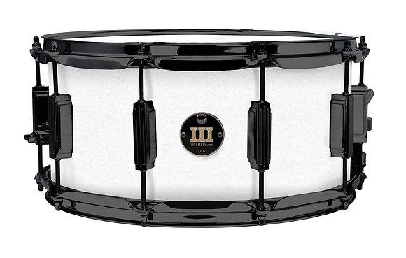 "WFLIII Aluminium Snare - White Sparkle 6.5""x14""Black Nickel Lugs, Trick Strainer"